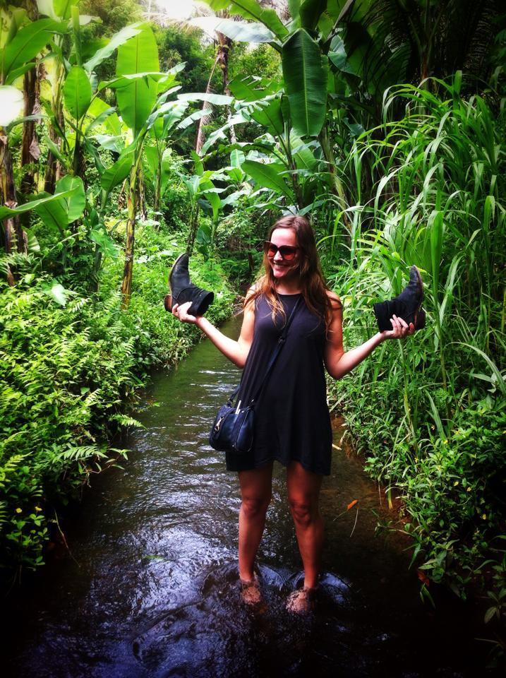 wandelen in de rijstvelden rond Ubud in Bali, Indonesië, Zuid Oost-Azië