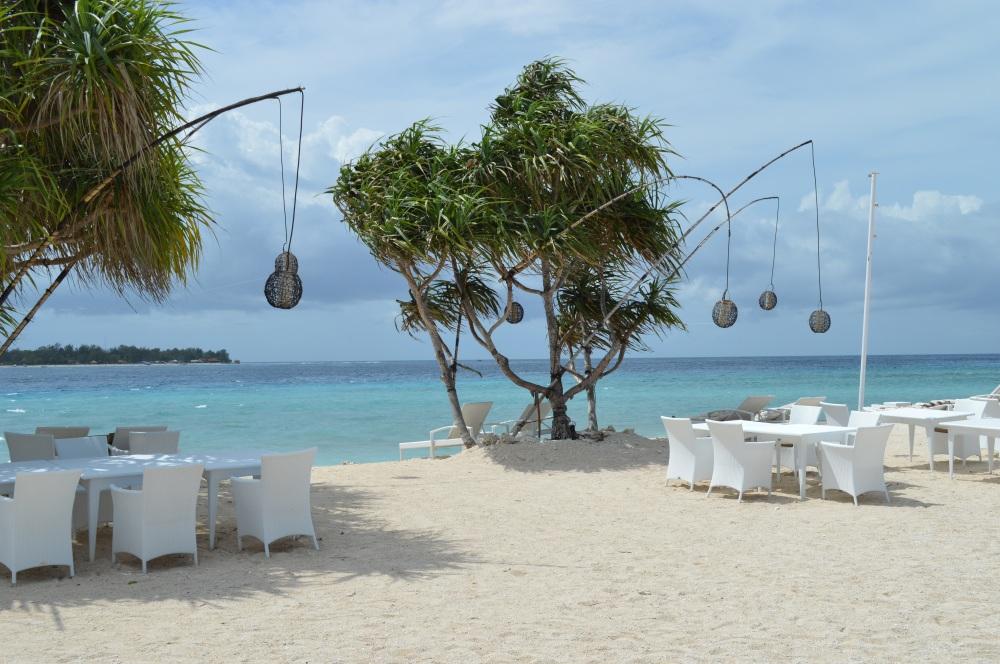 witte strandbar, gili meno, gili eilanden, paradijs, lombok, Indonesië, Zuid Oost-Azië