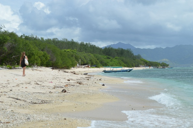 Wandeling op Gili Meno, Gili eilanden, Lombok, Indonesië, Zuid Oost-Azië