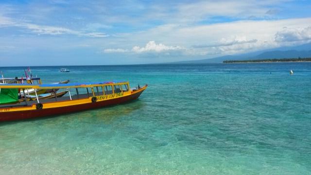 kleurrijke boot, gili eilanden, lombok, Indonesië, Zuid Oost-Azië