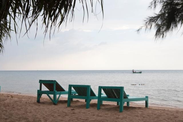 strandzetels Rabbit Island, Koh Tonsay, Kep, Cambodja, Zuid Oost-Azië