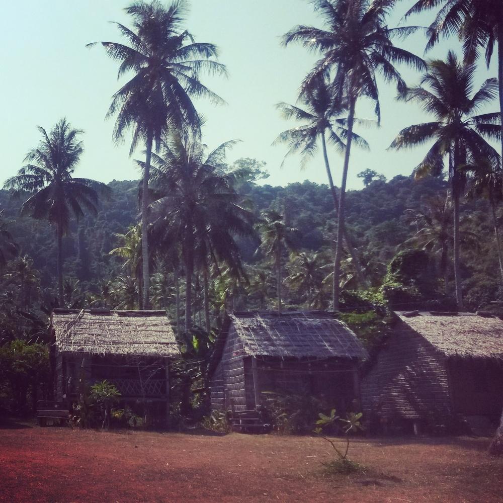 Slaap hutjes Rabbit Island, Koh Tonsay, Kep, Cambodja, Zuid Oost-Azië